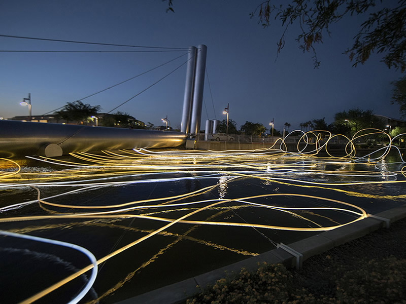 grimanesa amoros golden waters lighting sculpture installation in scottsdale arizona for scottsdale public art
