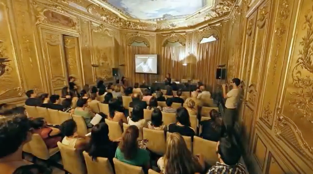 grimanesa amoros gives a lecture with Casamerica at the Peninsula Hotel