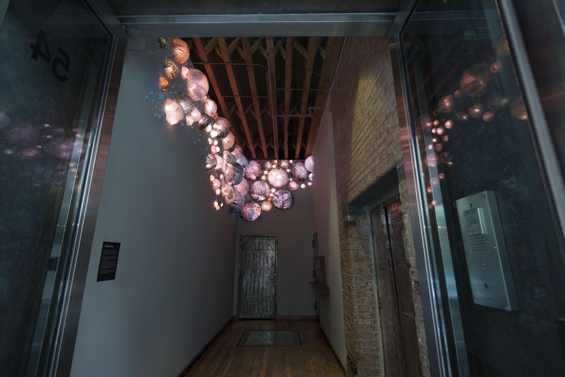 Grimaensa Amoros' light sculpture Terrarium at the Bayer Building, NY