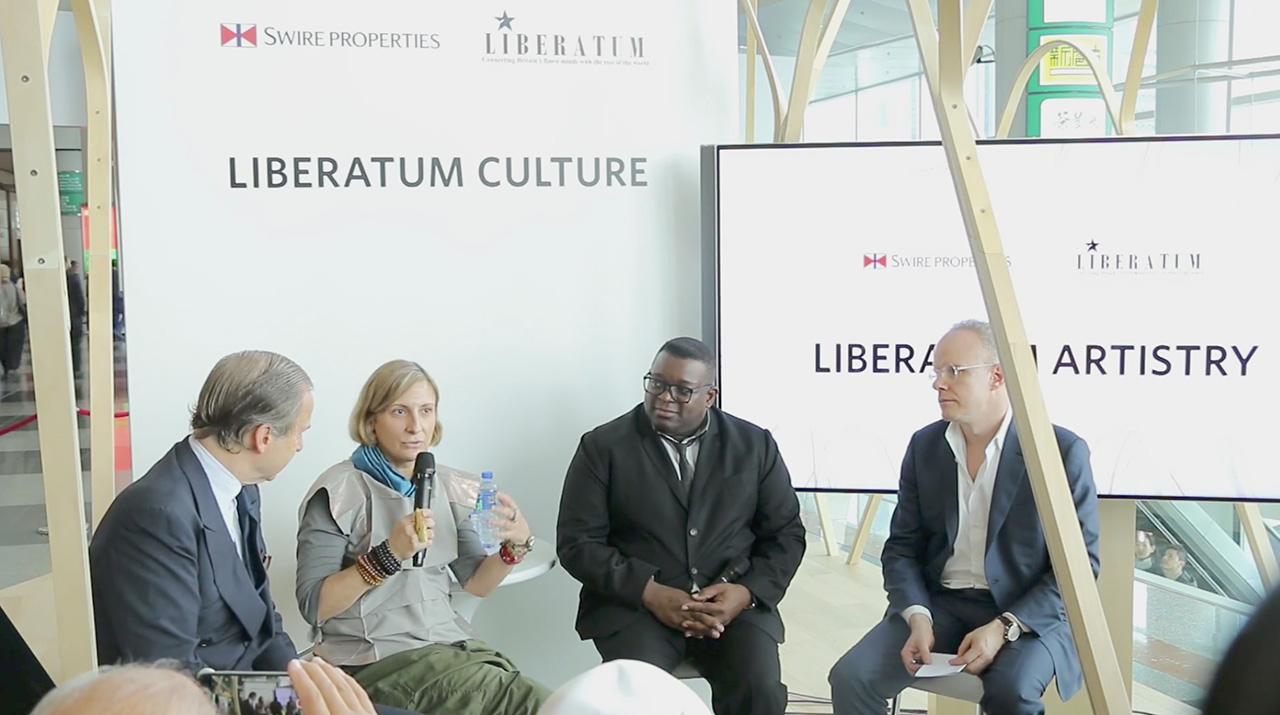 grimanesa amoros at Liberatum of Art Basel HK with Isaac Julien and Hans Ulrich Obrist