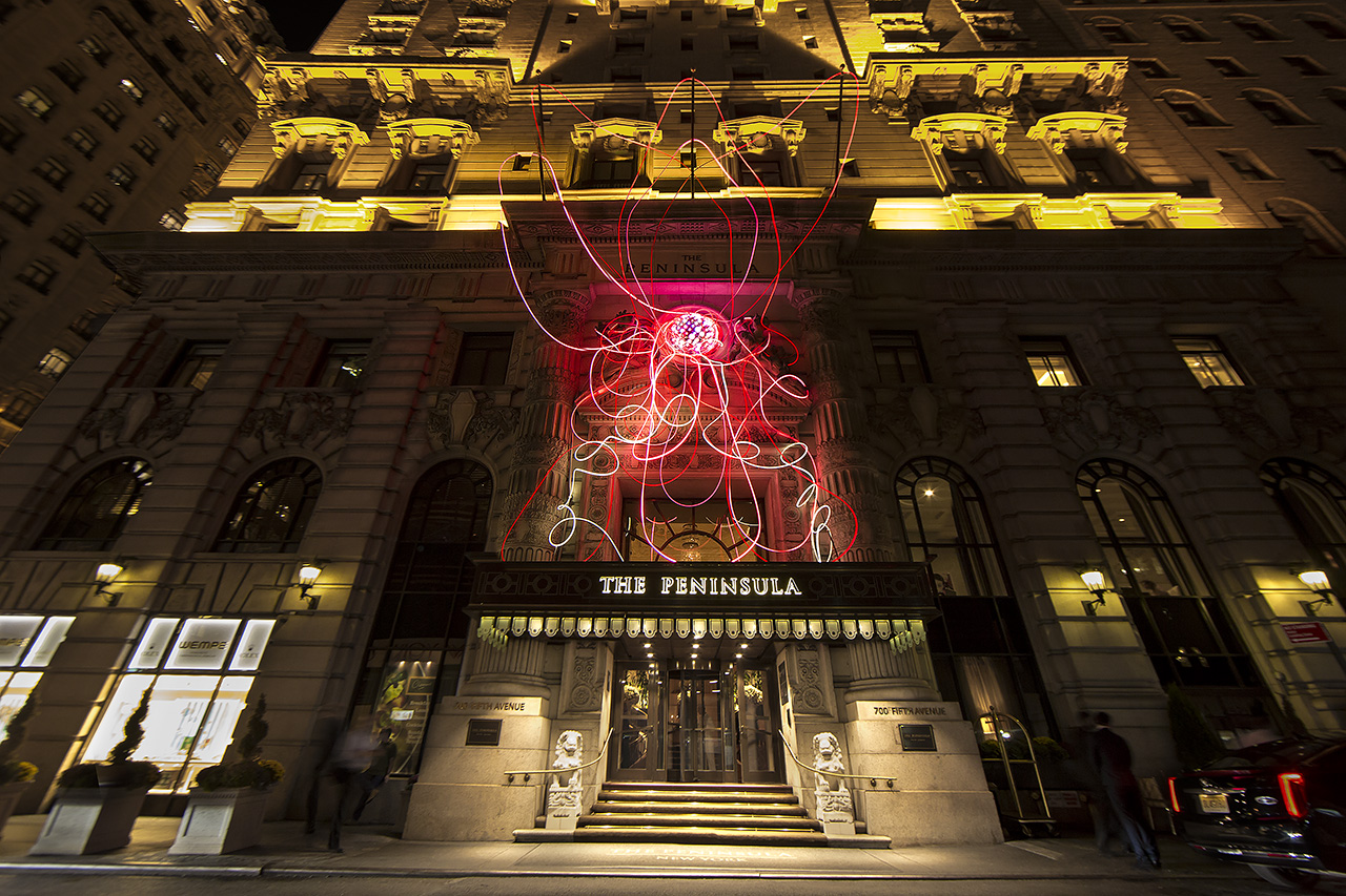 grimanesa amoros pink lotus light installation at the peninsula hotel in new york