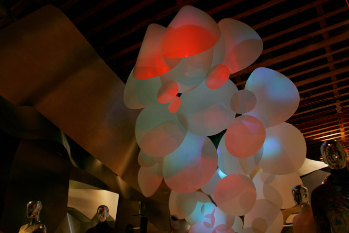 Grimanesa Amoros AURORA Lighting and Mixed Media Sculpture at the tribeca ISSEY MIYAKE Headquarters
