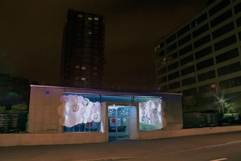 Claramatte Parkhaus Facade grimanesa amoros light sculpture la recoleccion