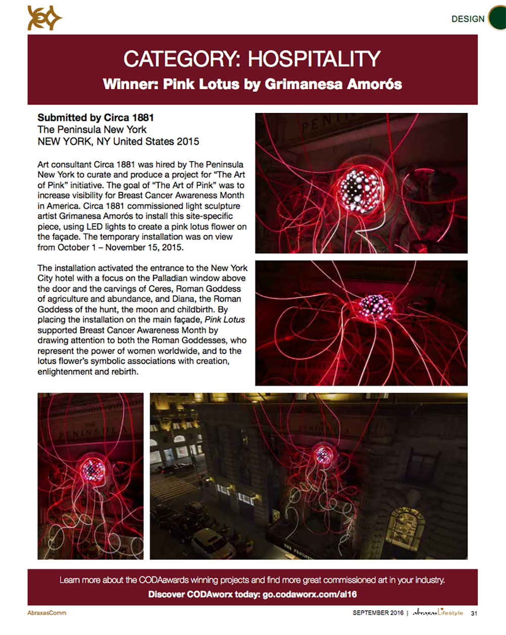 CODAworx Awards Abraxas Lifestyle Magazine on Pink Lotus by Grimanesa Amoros by Circa 1881 at the Peninsula Hotel in New York