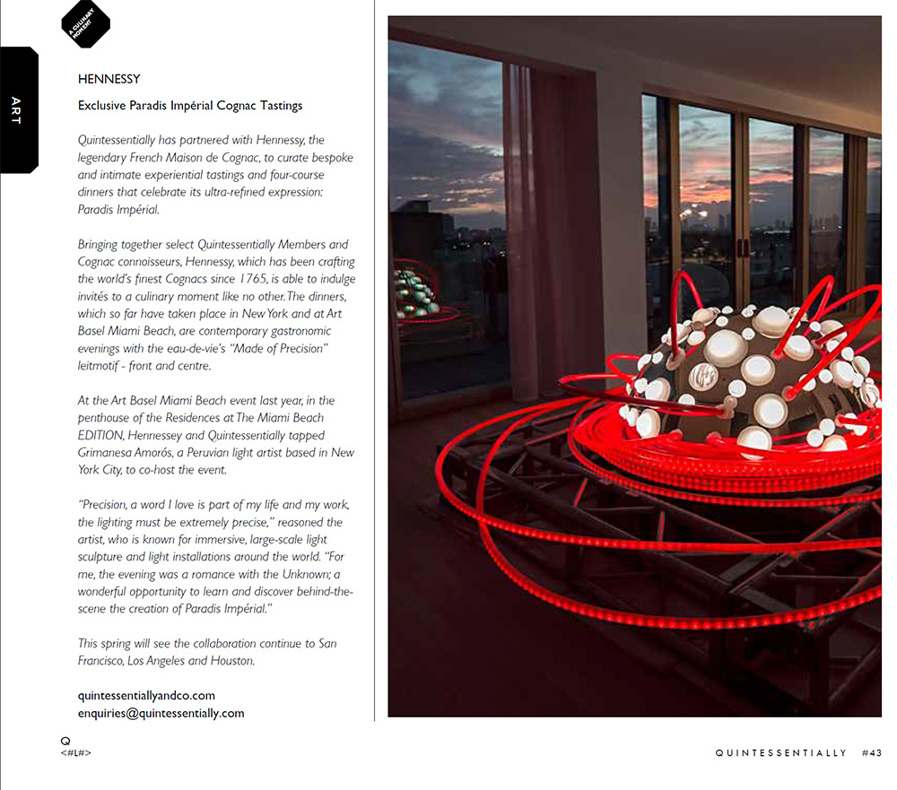 QUINTESSENTIALLY magazine in partnership with Hennessy showing Lotus the lighting installation