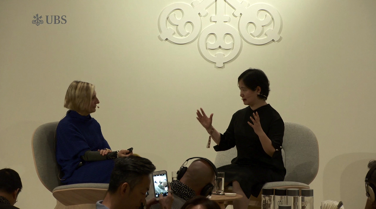 grimanesa amoros gives lecture for UBS x Art Basel in Hong Kong China