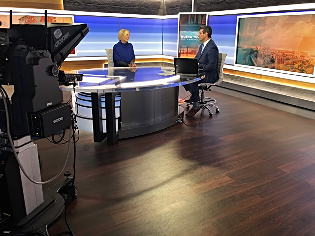 Grimanesa Amoros interview with Adhemar Montagne from NY1 Noticias news station in New York