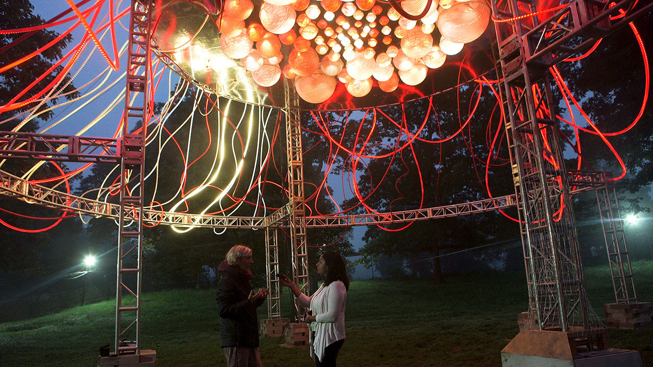 grimanesa amoros hedera light sculpture in prospect park at the bandshell in brooklyn new york