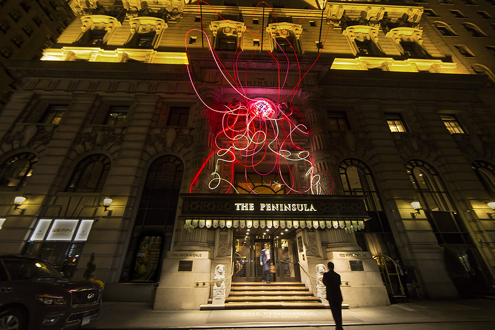 grimanesa amoros lighting sculpture installation Pink Lotus at the Peninsula hotel in new york