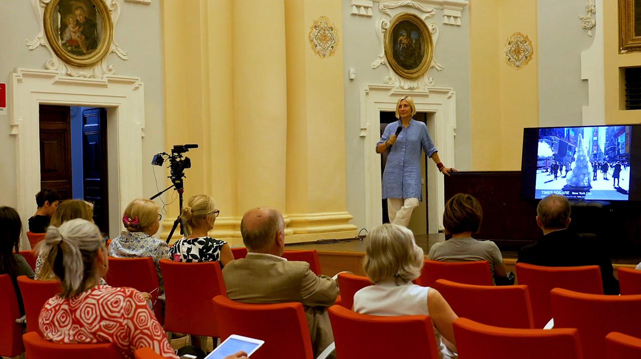grimanesa amoros artist talk at auditorium vittorio taborra bagnoregio civita